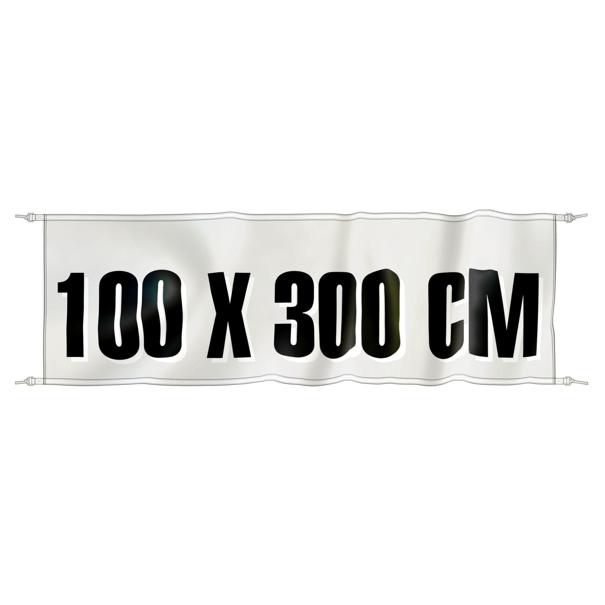 Spandoek 300 cm x 100 cm, fullcolor, glanspolyester 120 gr/m2