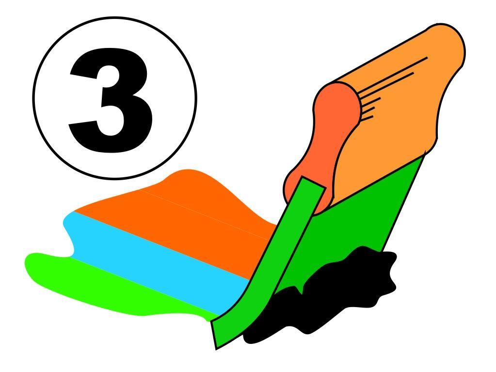 Zeefdruk, plastisol, 3 kleuren, op T-shirts